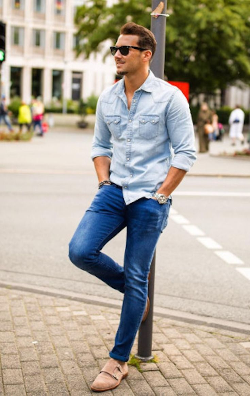 Best 25+ Men denim shirt outfit ideas on Pinterest