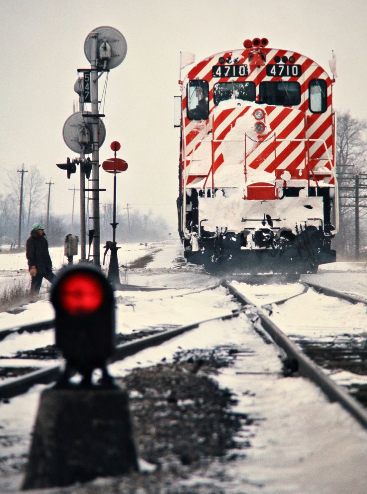 CP, Kent Bridge, Ontario, 1975Westbound Canadian Pacific Railway freight train in the snow at Kent Bridge, Ontario, on April 5, 1975. Photograph by John F. Bjorklund, © 2015, Center for Railroad Photography and Art. Bjorklund-36-26-09