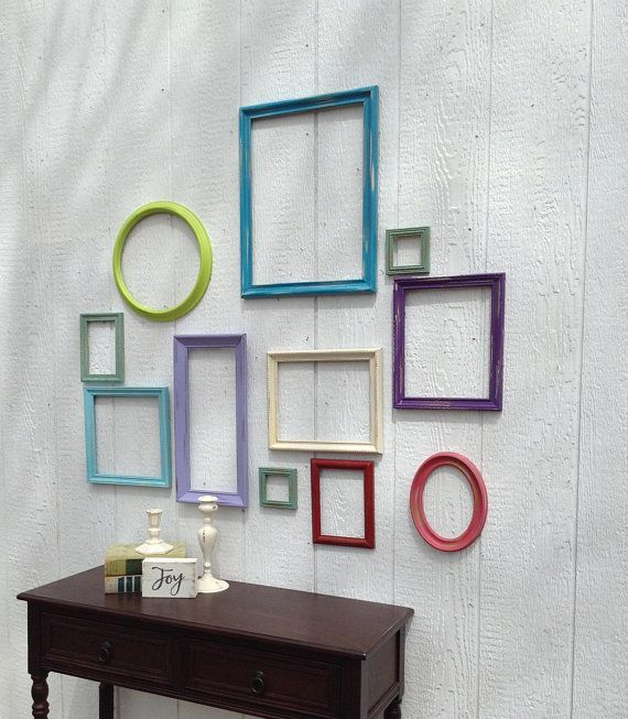 Colorful Empty Frame Wall Grouping Set Of 11 Open Frames Wall Gallery Colorful Frame Wall Decor Girl Frames On Wall Frame Wall Collage Frame Wall Decor