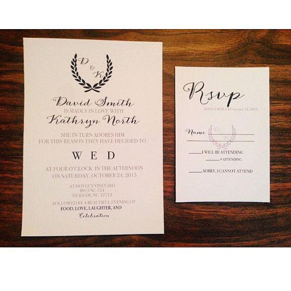 Rustic Navy & Grey Wreath Wedding Invitation by Rusticpapers