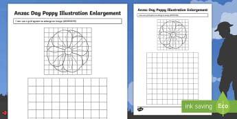 Anzac Day Poppy Illustration Enlargement Activity Sheet - ANZAC Day, poppy, australia, enlargement, illustration, ,Australia, worksheet, transformation, geome