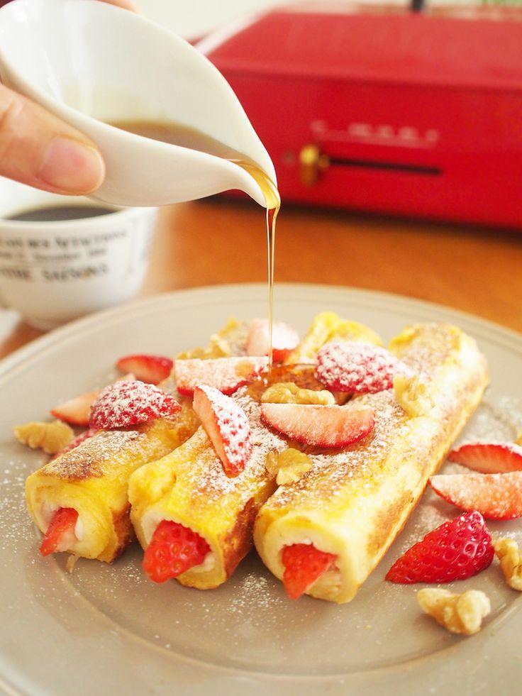 ロールアップ☆フレンチトースト by 加瀬 まなみ / フレンチトーストとホットサンドのいいトコ取り♪具を変えて、ランチに、おやつに、お弁当にと幅広く活躍してくれます(^-^) / ナディア