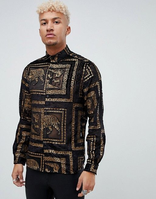 149725cbe5f476 DESIGN regular fit tiger sheer shirt with gold in black   different ...