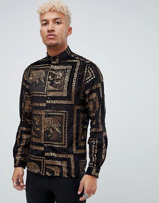 01e74d85087 DESIGN regular fit tiger sheer shirt with gold in black | different ...