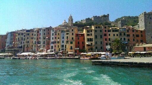 Colorful tiny houses on the coastline in Portovenere, Liguria, Italy