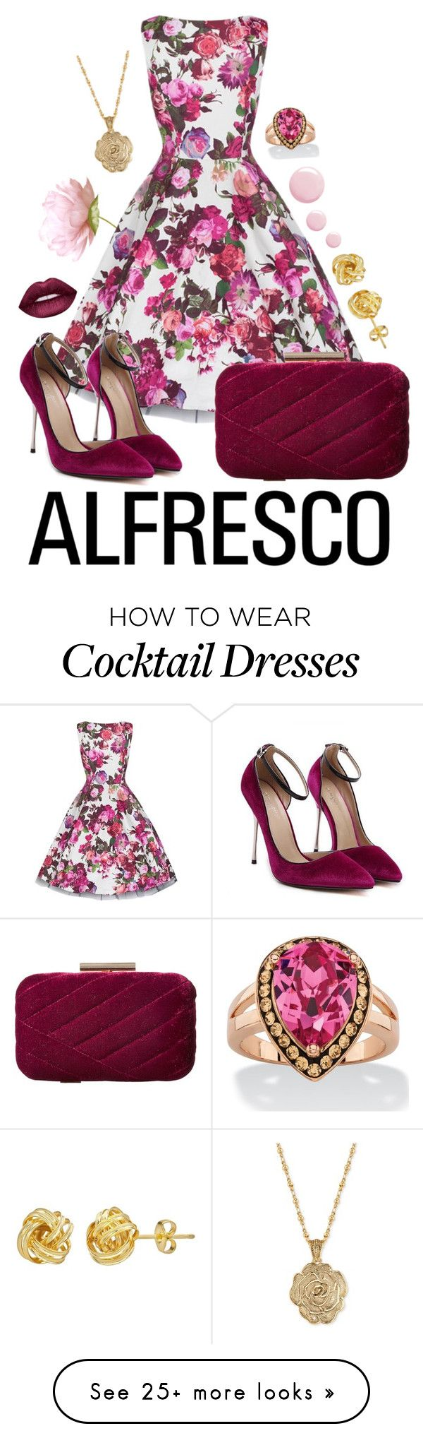 """""""Alfresco Dining Summer Dress"""" by stellap123 on Polyvore featuring Jessica McClintock, 2028, Lime Crime and Topshop"""