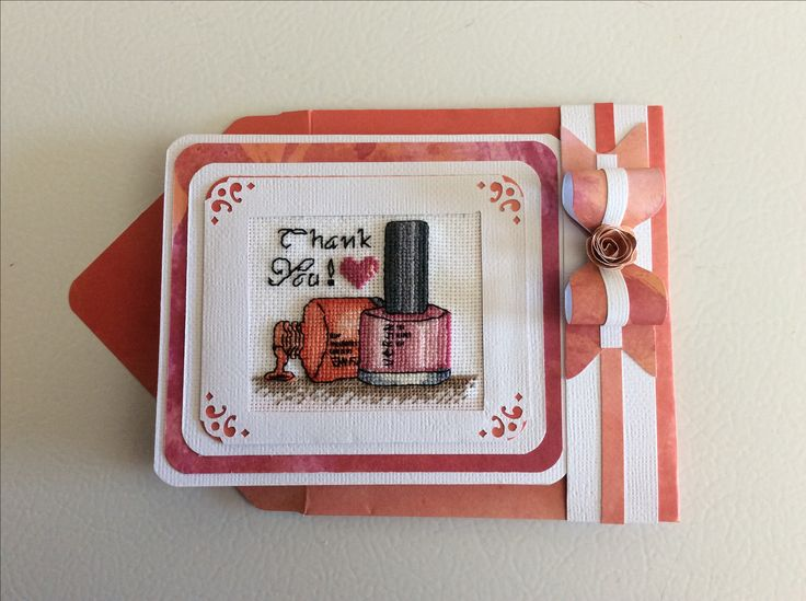 Cross Stitch, Nail Polish Thank You Card made by Karen Miniaci. Matching Envelope, Band and Bow made with Envelope Punch Board.