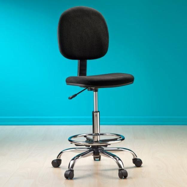 Silla cajero o butaco industrial neum tica aro apoya pies for Silla escritorio con brazos