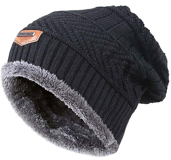 HINDAWI Winter Beanie for Girls Boys Kids (5-14 Years) Warm Snow Knit Hats  Windproof Slouchy Skull Cap Black 522ec98bcdfb