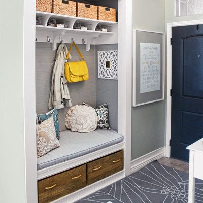 This homeowner opened up an inaccessible hallway closet and outfitted it for just $470 to create a hardworking--and handsome--entryway mudroom. | Photo: Courtesy of Shelley Smith | thisoldhouse.com