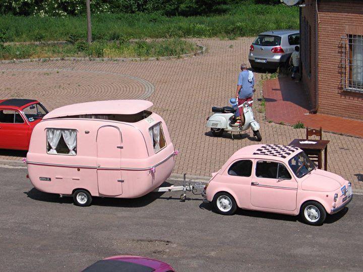 Pink Fiat x camper + Vespa
