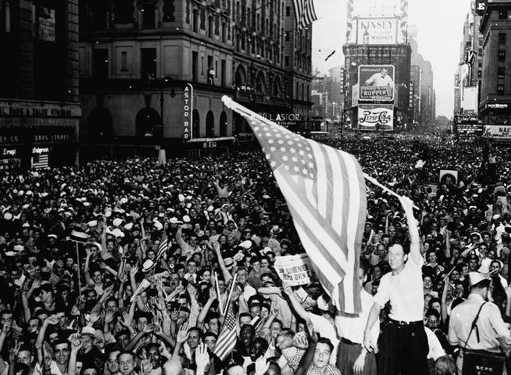 Japan surrenders New York August 15 1945