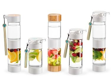 Define Water Bottle  Enjoy a fruit punch of hydration in Define's dual-chamber vessel that's separated with a strainer to keep seeds and pulp contained.  Available at ahalife.com, $25.   Share Pin It