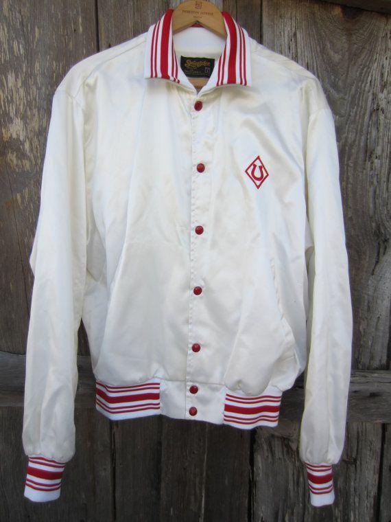 70s Shiny White Horseshoe Baseball Jacket by Swingster, Men's M-L, Women's L-XL // Vintage White and Red Varsity Jacket
