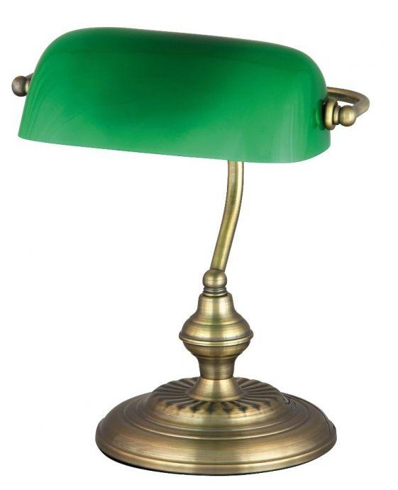 lampa de birou BANK 4038 aurie cu abajur orientabil verde, marca RabaLux