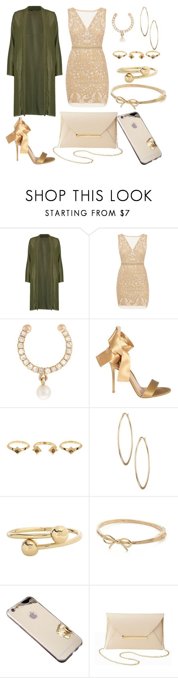 """goldddddd"" by jadabr ❤ liked on Polyvore featuring Boohoo, Nicole Miller, Anissa Kermiche, Gianvito Rossi, House of Harlow 1960, Lydell NYC, J.W. Anderson, Kate Spade and Charlotte Russe"