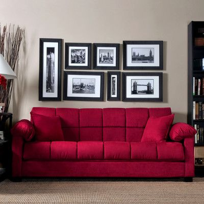 Handy Living Convert A Couch Microfiber Sleeper Sofa In Crimson Red    Looove The Color!