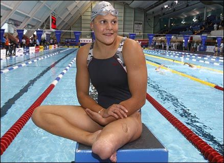 "Natalie du Toit is a South African swimmer. She is best known for the gold medals she won at the 2004 Paralympic Games as well as the Commonwealth Games. She was one of two Paralympians to compete at the 2008 Summer Olympics in Beijing; the other being table tennis player Natalia Partyka. Du Toit became the FIRST AMPUTEE EVER to qualify for the Olympics, where she placed 16th in the 10K, ""Marathon"", swim."