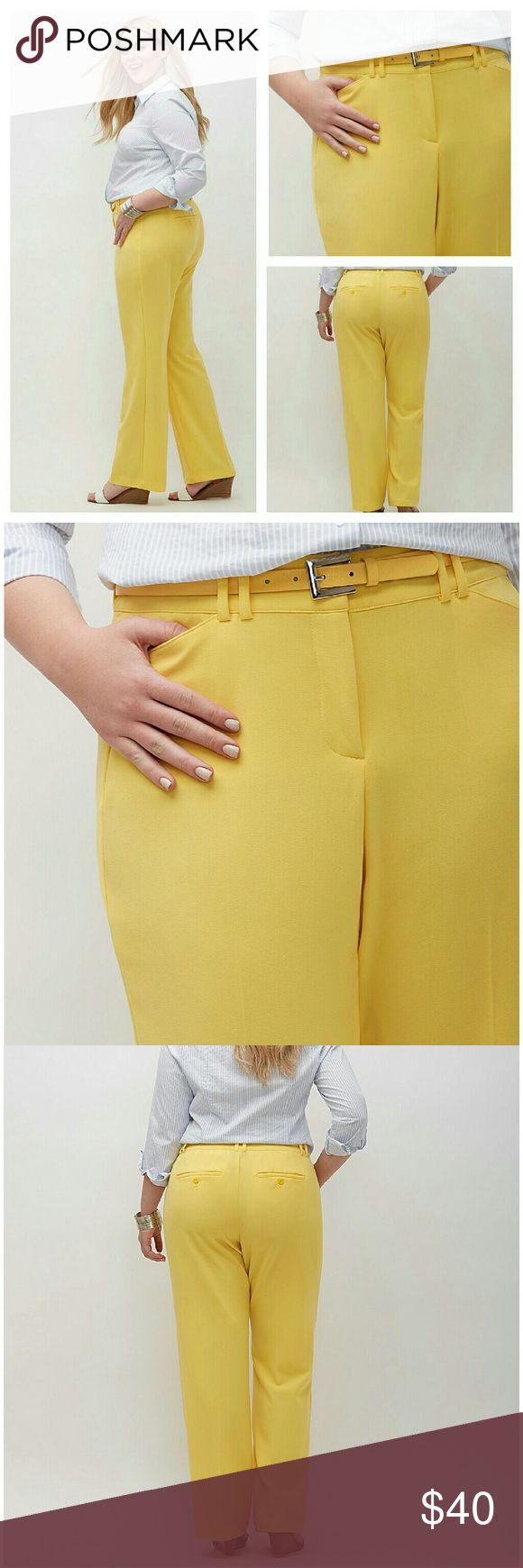 Lena trouser tummy technology 24 24p petite yellow **Plus size 24 petite**   POLYESTER / RAYON / SPANDEX MACHINE WASH IMPORTED  Our curve-loving Lena fit gets a slimmer, trimmer silhouette with Tighter Tummy Technology. Look and feel your best with T3's specially-designed tummy control panel and hidden elastic waistband for a no-gap fit. Tailored Stretch construction is the perfect pick for office to weekend, with its smooth feel and flattering drape. Bar & slide and zip fly closure. Four…