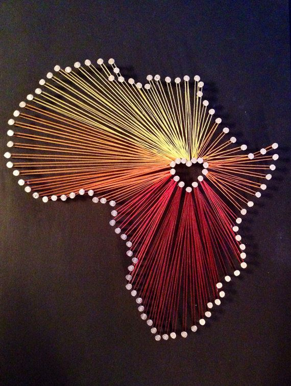 "Here is a beautiful Africa Heart Customizable ""String Art"" from Etsy's own Chelsea McGinnis at her shop, Chicondi."
