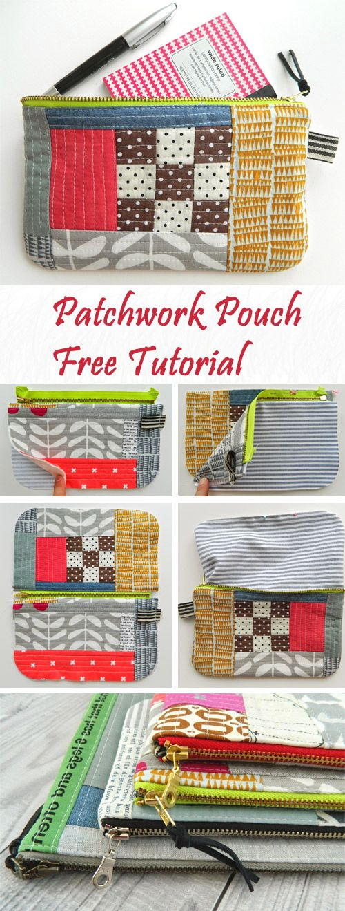 How to Sew a Zipper Patchwork  Pouch Tutorial http://www.free-tutorial.net/2017/10/patchwork-pouch-tutorial.html