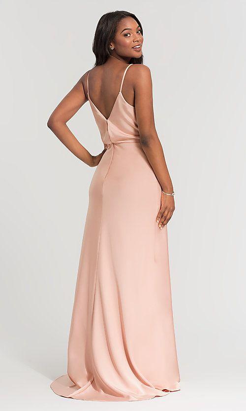 a38b97e9fa2 Image of v-neck beaded-waist long Kleinfeld bridesmaid dress. Style  KL