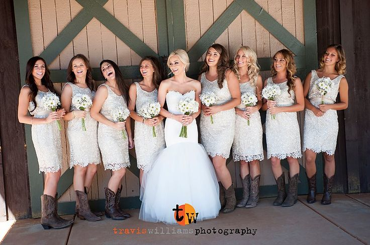 Country Wedding Barn Rustic Boots Bridesmaids Dress