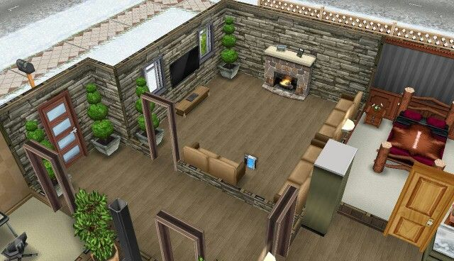 My Sims Freeplay Log Cabin Sims House Ideas Pinterest