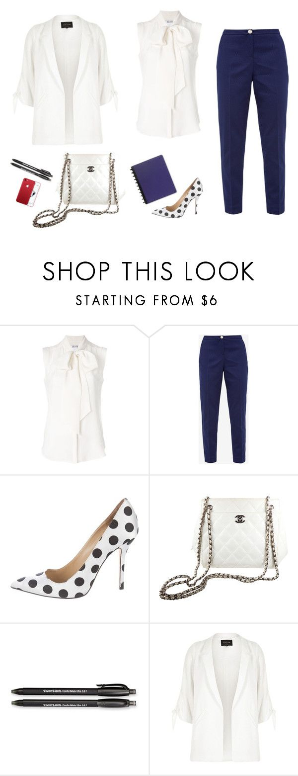 """Business look"" by monika1555 on Polyvore featuring MaxMara, Ted Baker, Oscar de la Renta, Chanel, Paper Mate and River Island"