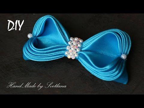 Простой бантик из ленты Канзаши Мастер класс DIY Simple ribbon bow Kanzashi голубой - YouTube