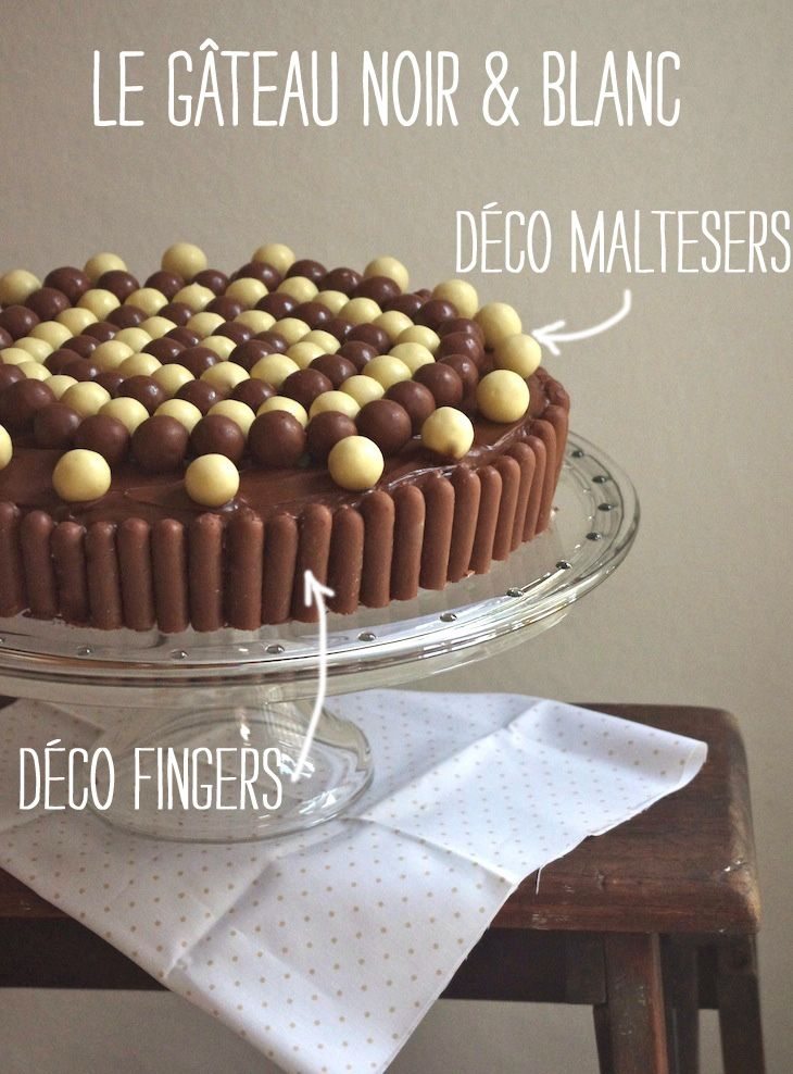 gateau noir blanc deco maltesers fingers 1 Sous la cloche à gâteau   Gâteau…