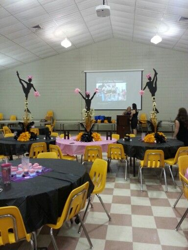 Cheer banquet actual silhouette of flyers and center pieces