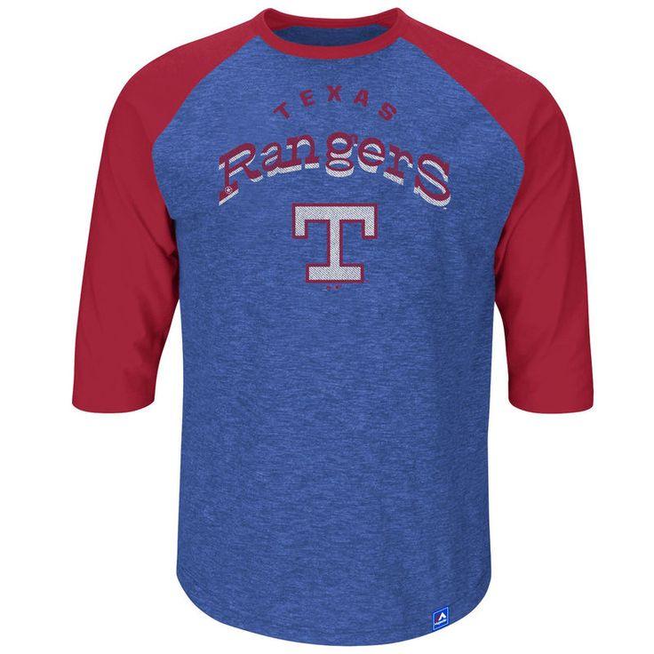 Texas Rangers Majestic Big & Tall Don't Judge Three-Quarter Raglan Sleeve T-Shirt - Royal