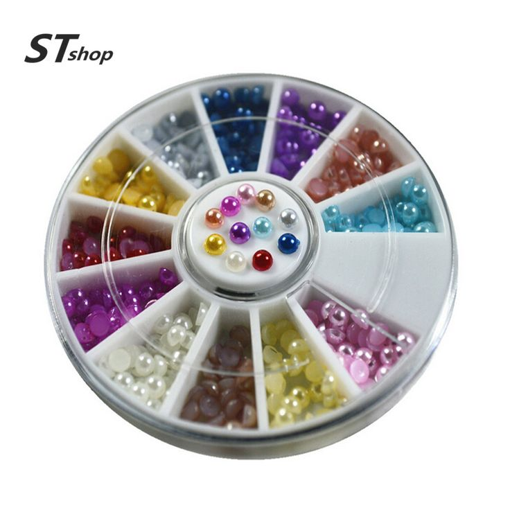 Buy One Wheels Mixed 12 Colors 2mm Pearl Nail Art Studs DIY Decorations Bead Stickers Wraps Manicure Beauty Cellphone Tools NC048 at JacLauren.com