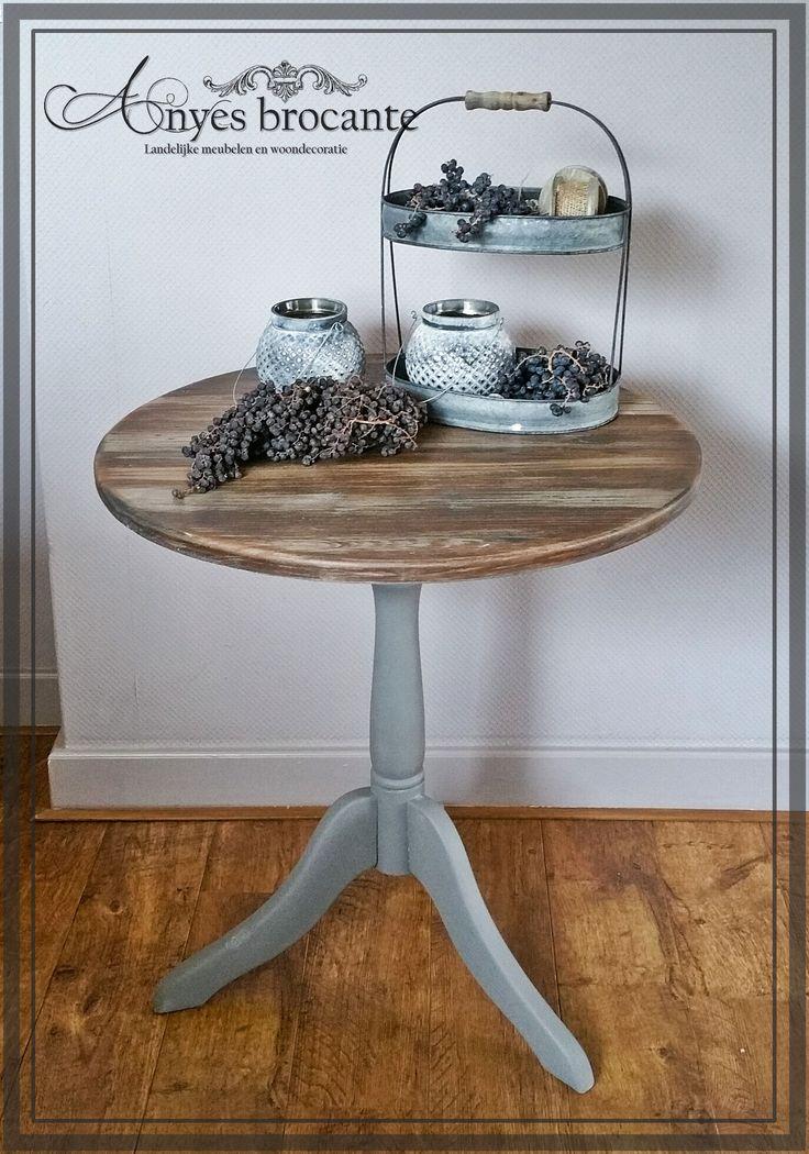 Landelijke wijntafel / bijzettafel ♥ French linen rustiek hout