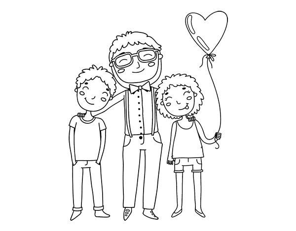 Dibujos Del Dia Del Padre Coloreados: Dibujo De Padre E Hijos Para Colorear