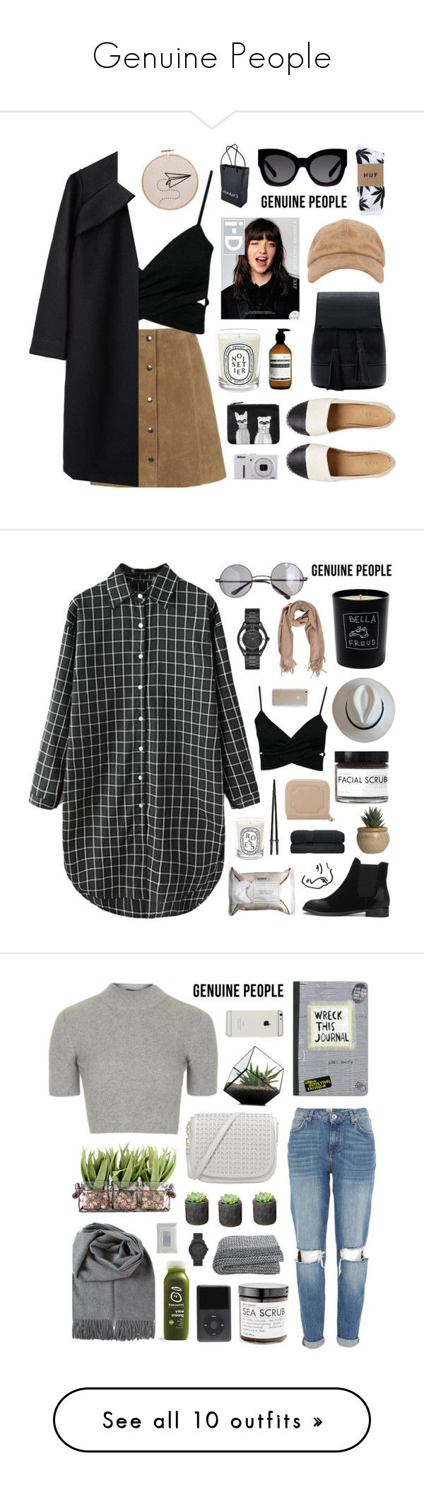 """""""Genuine People"""" by jesicacecillia ❤ liked on Polyvore featuring Genuine_People, A Détacher, HUF, Aesop, Karen Walker, Diptyque, Monki, Nikon, Chanel and Retrò"""