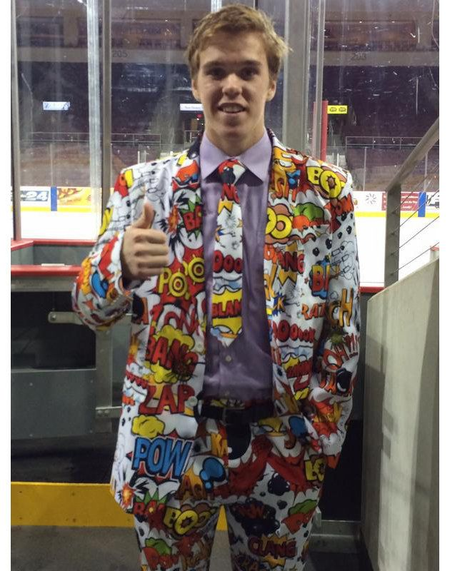 Connor McDavid wears ridiculous super player of game suit; ZAP! POW! (Photo)