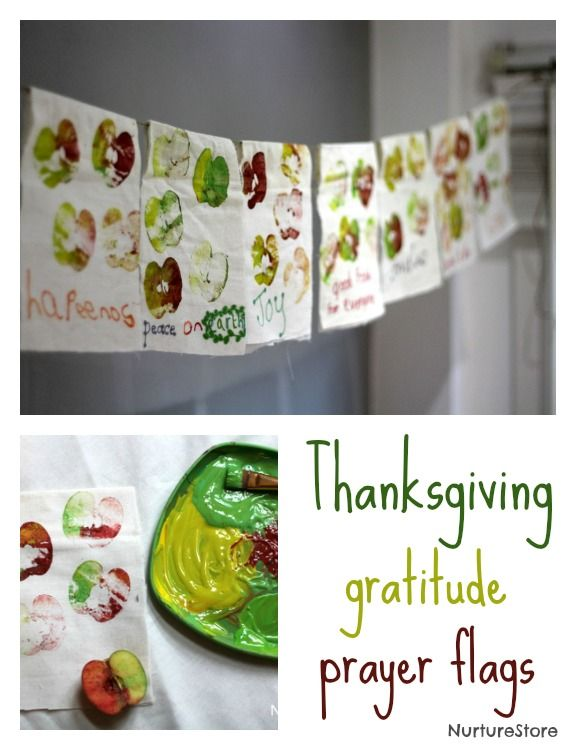 Gratitude prayer flags - a wonderful Thanksgiving craft for kids.  I love this idea, but would do it differently.  I think I'd dye the fabric, (maybe handkerchiefs?) and then give the kids fabric markers to draw/write what they're thankful for.