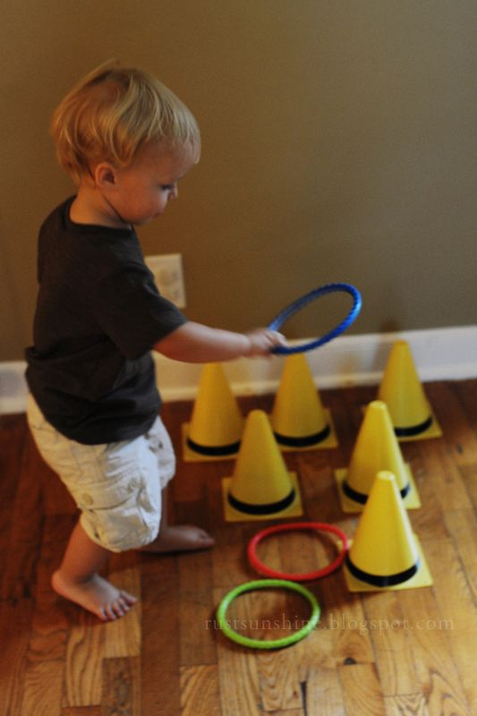 Pylon ring toss. Great for coordination or for a truck/racing party. So sweet!! good technique to improve many things on premature bebies