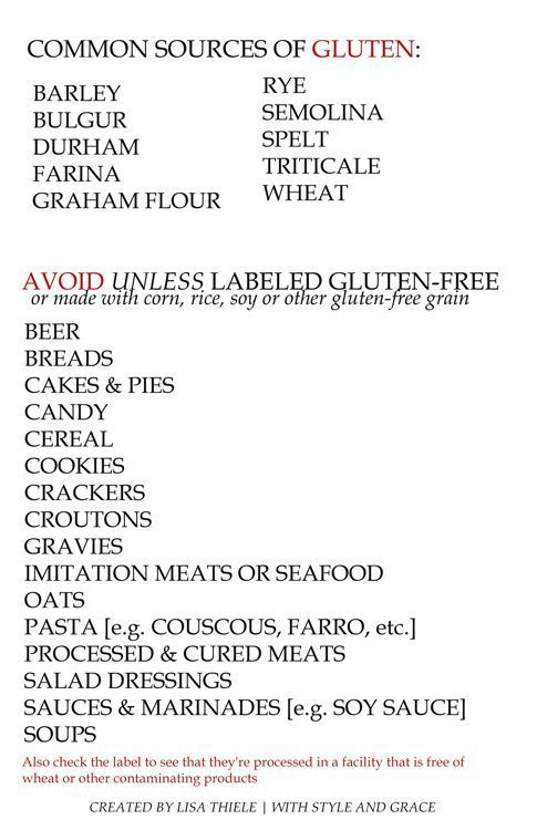 """What foods have gluten  ?  What foods contain gluten ?  """"So you just found out that you have Celiac Disease….now what? Tips for those newly diagnosed with Celiac."""" link  Common Sources of Gluten. Avoid Unless Labeled Gluten-free"""