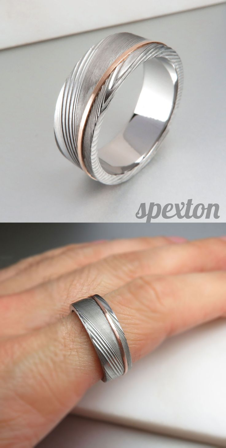 Handmade from pure jewelry quality stainless steel, Spexton damascus rings will never tarnish, shatter, or bend.  This design is accented with an offset stripe of rose gold.