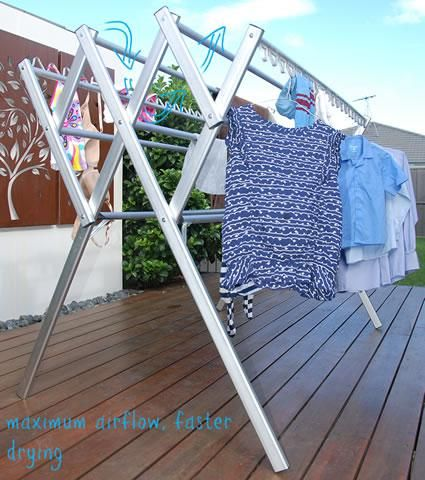 Maximum airflow, faster drying for a portable clothes airer drying rack