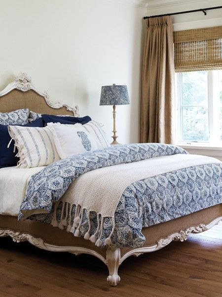 Pale Blue bedding/ with a white iron OR a white washed wooden headboard- to die for
