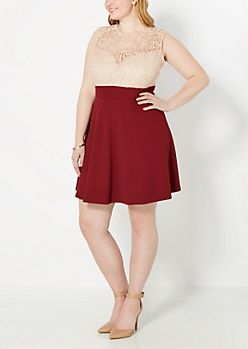 Plus Lace Burgandy Skater Dress