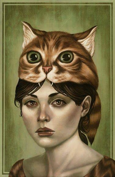 Cat on her head, art by Casey Weldon
