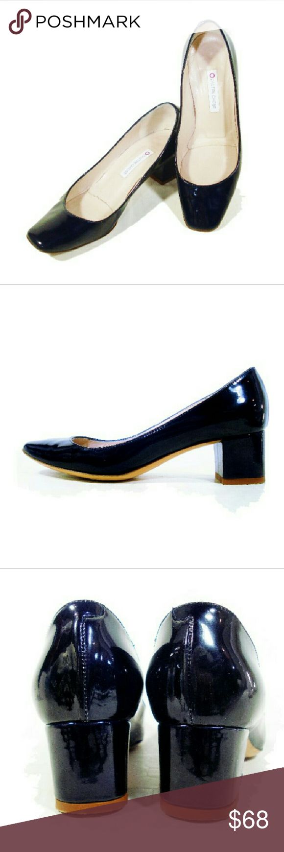 "L'AUTRE CHOSE Blue Patent Leather Court Shoes Elle France online: "" a minimalist block heel court shoe is given a modern update with a high shine patent leather and squared off toe for a wear with anything update.."" Fab for work or a Simple Touch to add to a nautical look without being campy.?? solid deep blue color, tapered Toe line, leather lining and sole and covered heel. L'AUTRE CHOSE  Shoes Heels"