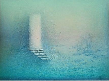 """""""Inn i opplysthet"""" Akryl på lerret (m/ struktur) - 40 x 50 cm  Dette bildet ble antatt til utstillingen """"Åpen juriert utstilling"""" på Galleri Godager i Brevik 4. juni 2016, som ble arrangert av Manfred Evertz og Liv Evju."""