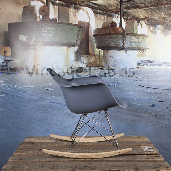 Eetkamerstoelen : RAR style schommelstoel grijs - Chroom frame tijdelijk uit voorraad - Vintagelab15.com