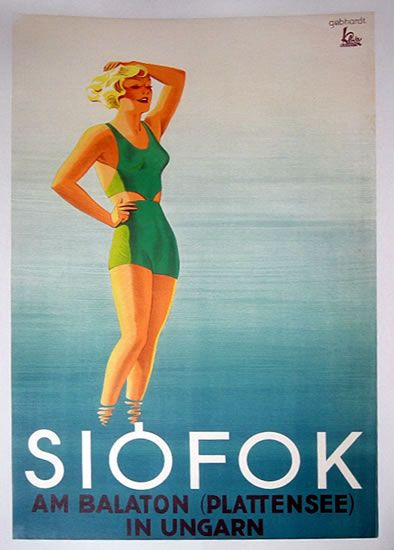 Siofok, Hungary vintage travel poster ~ 'Am Balaton (Plattensee) in Ungarn'
